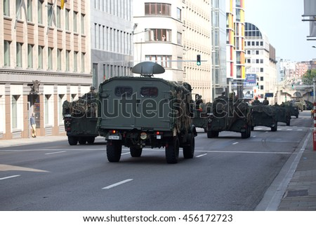BRUSSELS - JULY 21: Mobile radar vehicle during the military parade on the Belgium National Day. Photo taken on July 21, 2016 in Brussels, Belgium.