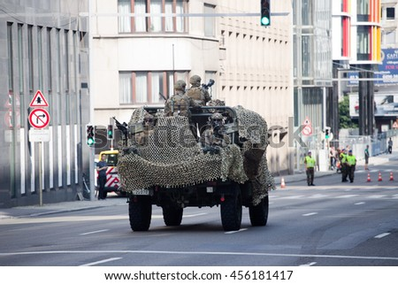 BRUSSELS - JULY 21: Special forces light vehicle during the military parade on the Belgium National Day. Photo taken on July 21, 2016 in Brussels, Belgium.