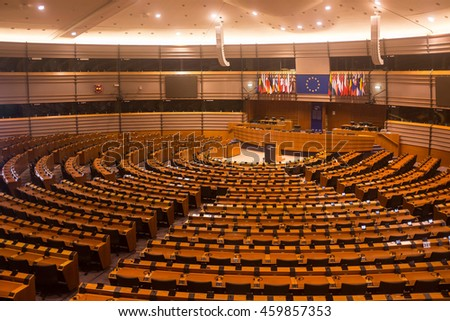BRUSSELS ?? JULY 23, 2015: The European Parliament hemicycle of Espace Leopold is open for visitors on July 23, 2015 in Brussels. The parliamental buildings can be visited several times a week.