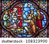 BRUSSELS - JUNE 22: Three Magi from windowpane in st. Michael s gothic cathedral on June 22, 2012 in Brussels. - stock photo