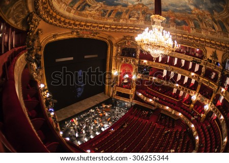 BRUSSELS -  MAY 19:  Inside the auditorium of the La Monnaie Opera of Belgium on May 19, 2015 in Brussels.  - stock photo