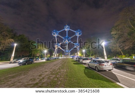 BRUSSELS - MAY 1, 2015: The Atomium at night. The Atomium is a building in Brussels originally constructed for Expo 58, the 1958 Brussels World's Fair. - stock photo