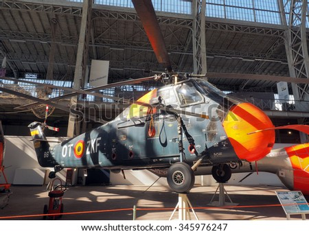 BRUSSELS-OCT. 1: A Sikorsky S- 58 military antique  helicopter is on display at Royal Museum of   Armed Forces and of Military History  Cinquantenaire Park  Brussels, Belgium on Oct. 1, 2015.