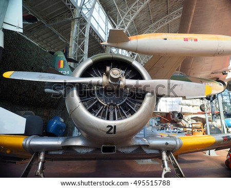 BRUSSELS-OCT. 1:Historic North American T-6 propeller fighter airplane is seen  at The Royal Museum of  Armed Forces and Military History in Cinquantenaire Park, Brussels, Belgium on October 1, 2015.