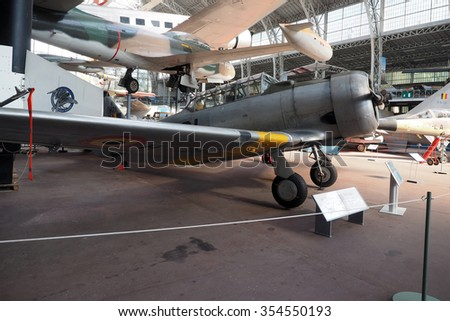 BRUSSELS-OCT. 1:  North American T-6 historic, antique fighter airplane  seen   at  Royal Museum of  Armed Forces and  Military History in Cinquantenaire Park Brussels, Belgium on Oct. 1, 2015.