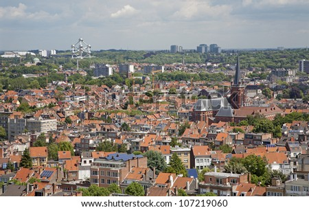 Brussels - outlook from National Basilica of the Sacred Heart - stock photo
