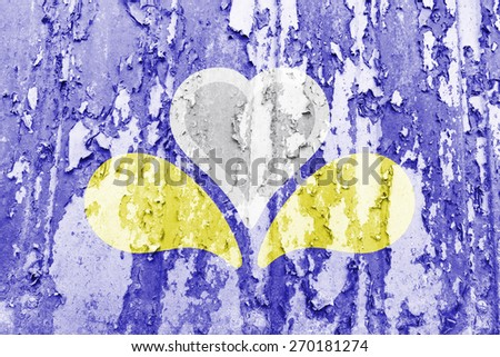 Brussels Region flag on a beaten metal surface - stock photo