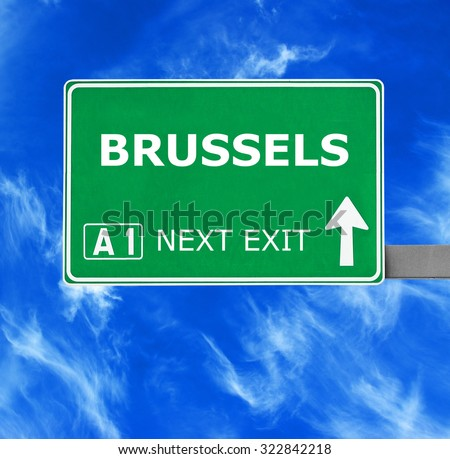 BRUSSELS road sign against clear blue sky