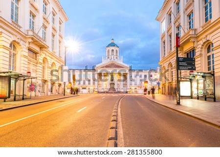 Brussels Royal Square with Palace Cathedral Chapelle Belgium - stock photo