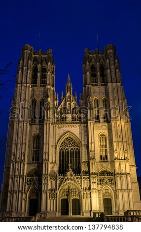 Brussels - Saint Michael and Saint Gudula gothic cathedral - west facade, at dusk - stock photo