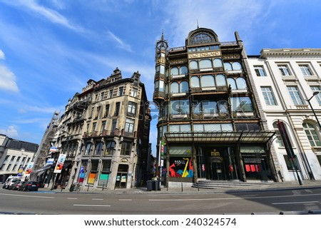 BRUSSELS - SEPTEMBER 15:  The Musical Instrument Museum (MIM), internationally renowned for its collection of over 8000 instruments, taken on September 15, 2014 in Brussels, Belgium - stock photo