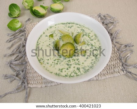 Brussels sprout soup in bowl