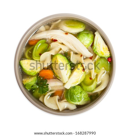 Brussels Sprouts Chicken Noodle soup - stock photo