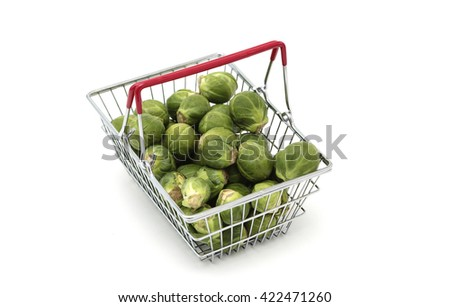 Brussels sprouts in a basket - stock photo