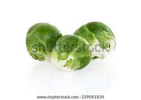 Brussels sprouts, isolated on white background - stock photo