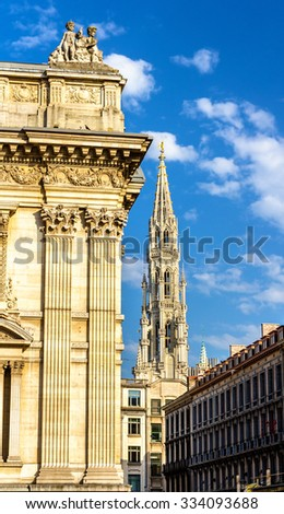 Brussels Stock Exchange and tower of City Hall - Belgium - stock photo