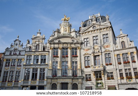 Brussels - The facade of palaces from main square in evening light. Grote Markt.