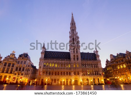 Brussels Town Hall at blue night, Belgium