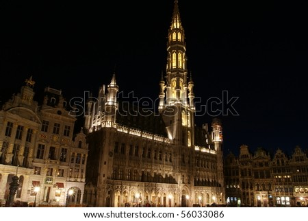 Brussels' town hall at night in the Grand Place. Brussels, Belgium.