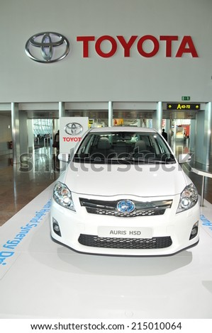 BRUXELLES, BELGIUM - AUGUST 30, 2010: The new Toyota Auris HSD release from the famous automobile manufacture - stock photo