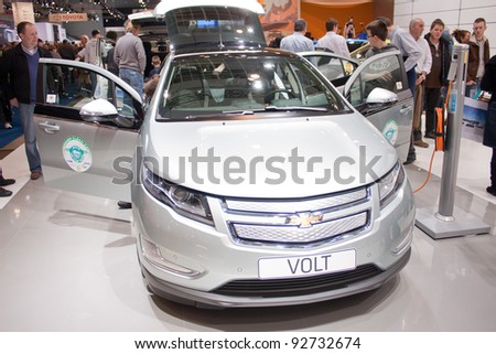 BRUXELLES, BELGIUM - JANUARY 14: Chevrolet Volt electric car on display at Belgian Auto Salon 2012 on January 14, 2012 in Bruxelles, Belgium - stock photo