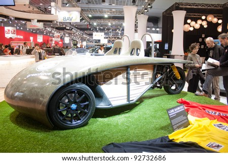 BRUXELLES, BELGIUM - JANUARY 14: I-Care Racing electric car on display at Belgian Auto Salon 2012 on January 14, 2012 in Bruxelles, Belgium - stock photo