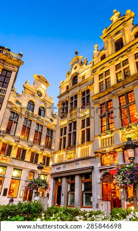 Bruxelles, Belgium. Twilight image with Grand Place in Brussels (Grote Markt) and medieval architecture house facades. - stock photo