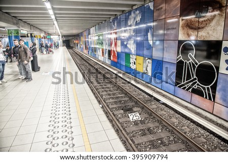 BRUXELLES - MAY 1, 2015: Subway station interior. The subway system covers a total of 39.9 kilometres. - stock photo