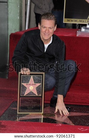 Bryan Adams at Bryan Adams Star on the Walk of Fame Ceremony, Hollywood , CA. 03-21-11 - stock photo