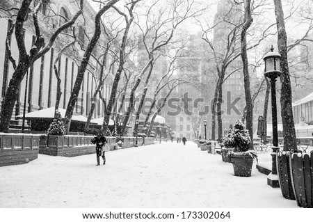 Bryant Park in black and white during a recent snow storm. - stock photo