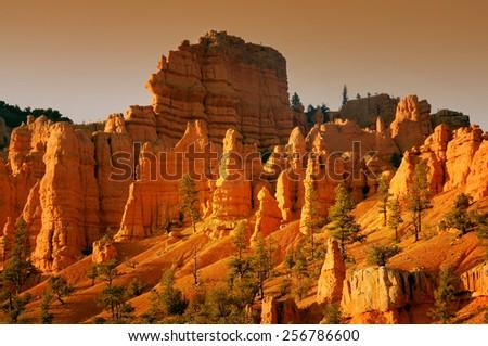Bryce Canyon National Park at sunset, Utah, USA - stock photo