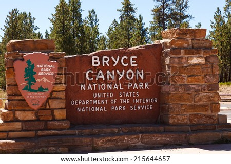 Bryce Canyon National Park Entrance Sign Utah