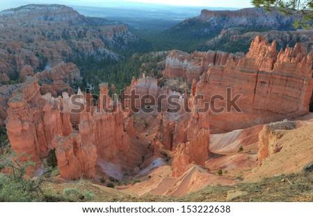 bryce canyon national park, utah, usa. multi colored erosion rock sandstone weathered hoodoos - stock photo