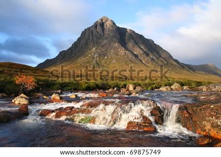 Buachaille etive mor mountain in the Glencoe area of scotland. - stock photo