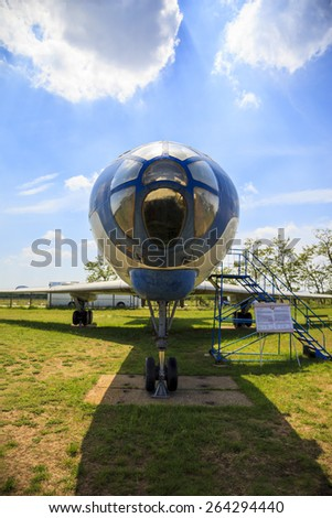 """BUBAPEST-MAY 7: MALEV Aircraft Museum aircraft TU 134 wingtip the Hungarian airline """"Malev"""", Permanent International Aerospace Exhibition May 7, 2014 in Budapest Int. Airport Hungary.  - stock photo"""