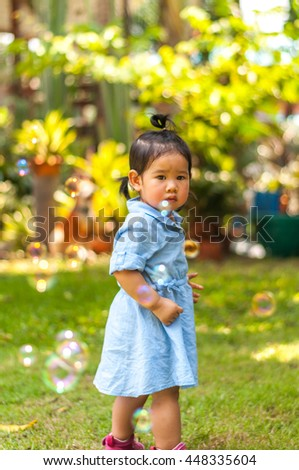 Bubble beautiful girl. - stock photo