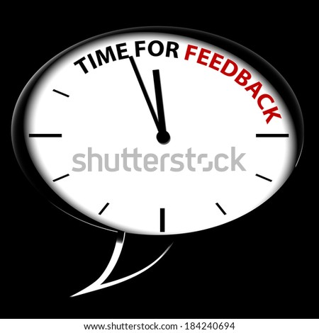 "Bubble Clock ""Time for FEEDBACK"" - stock photo"