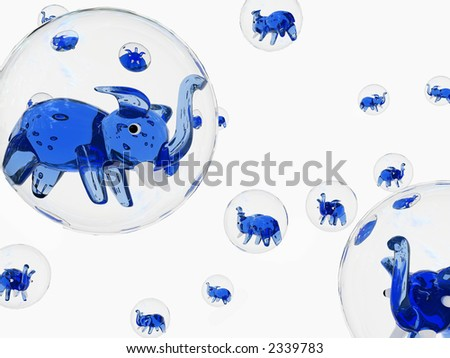 bubble elephant over the white