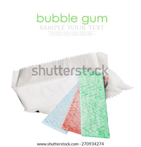 bubble gum different flavors isolated on white background. Shallow depth of field, focus on the middle of chewing gum - stock photo