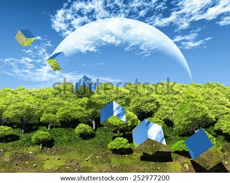 bubble  nature and the moon - stock photo