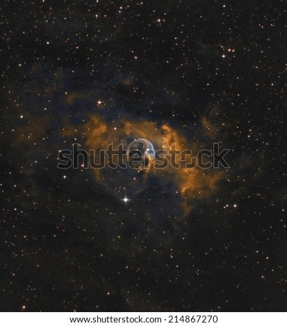 Bubble Nebula in Narrow Band Color - stock photo