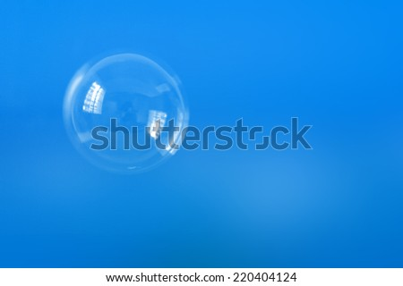 bubble on blue background - stock photo