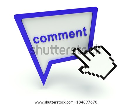 Bubble speech sign 'comment' with hand shaped cursor. 3d render illustration.