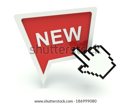 Bubble speech sign 'New' in red with hand shaped cursor. 3d render illustration. - stock photo