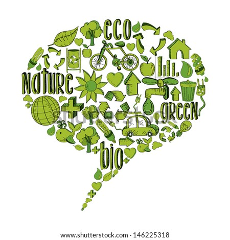 Bubble speech with environmental hand drawn icons in green.