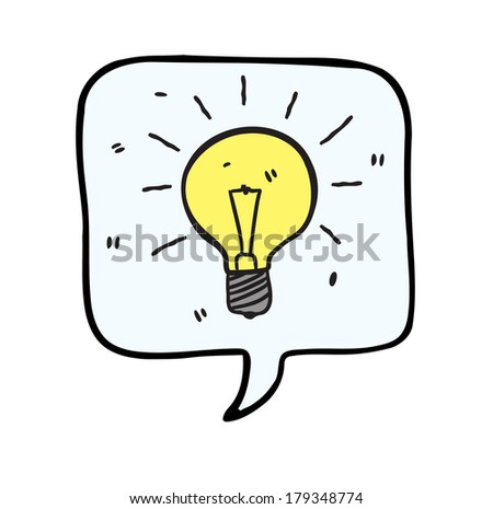 bubble speech with light bulb - stock photo