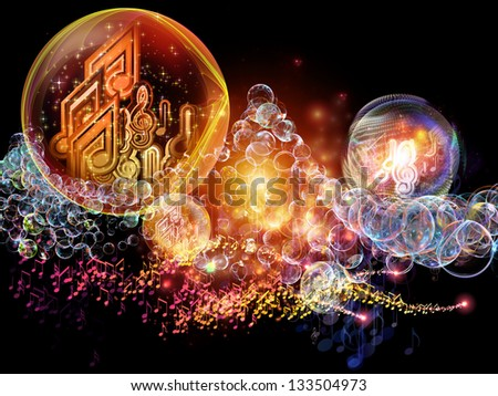 Bubble Symphony series. Backdrop composed of musical notes, fractal spheres and visual elements and suitable for use in the projects on music, dance, song and celebration