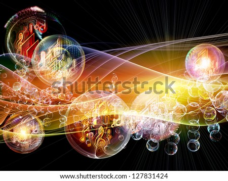 Bubble Symphony series. Composition of musical notes, fractal spheres and visual elements on the subject of music, dance, song and celebration - stock photo