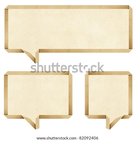 bubble talk origami recycled paper craft stick on white background - stock photo