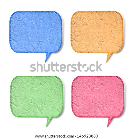 bubble talk tag recycled paper stick on white background